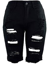 ZKOO Mujeres Cintura Alta Vaqueros Agujero Vaqueros Cortos Mezclilla Pantalones