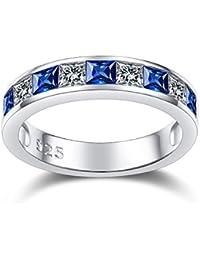Anillo de plata de ley 925 con zafiro azul para mujer, anillo de eternidad en