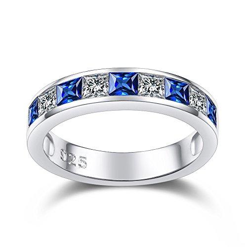 Kingwin Damen -  925 Sterling-Silber  Sterling-Silber 925 Prinzess   blau Saphir  (Sterling Lab Mit Silber Ringe)
