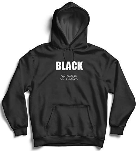 Black Coffee No Sugar Quote_006690 Hooded Pullover Unisex LG Black Hoodie