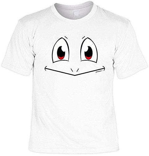 Fun Shirt mit lustigem Motiv: Witziges Gesicht - Geschenk, Geburtstag -weiss Weiß