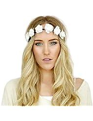 Chic Blanc Couronne de Fleurs Guirlande Front Bandeau Bande de Cheveux Femme Fête Bal Mariage Serre-tête