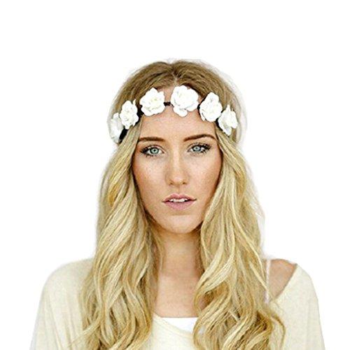 DDU(TM) 1 Stück Entzückend Damen Haus Hochzeit Weiße Blume Blumenkranz Haar-Stirnband Dekoration