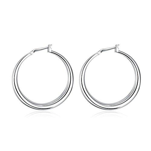 1 paio di orecchini a cerchio pendenti in argento Sterling 925 (OR010)