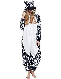 Kigurumi Pijama Animal Entero Unisex para Adultos con Capucha Cosplay Pyjamas Cebra Ropa de Dormir Traje