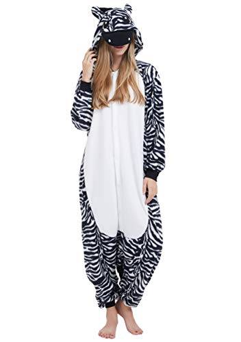 (Jumpsuit Onesie Tier Karton Fasching Halloween Kostüm Sleepsuit Cosplay Overall Pyjama Schlafanzug Erwachsene Unisex Lounge Kigurumi Zebra for Höhe 140-187CM)