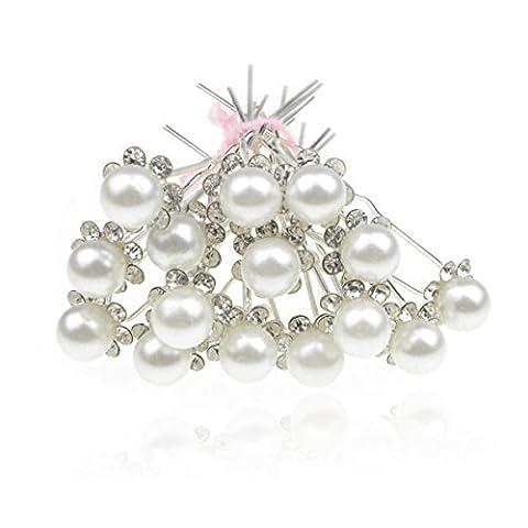 SUMERSHA Pinces à Cheveux Cristal Épingles à Cheveux Fleur Perle Strass Mariage Clips Mariée Blanc 20 pcs