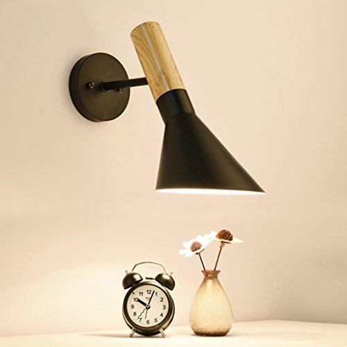 Good thing Applique murale Nordic Applique Lampes Japonaises Solide Bois Lampe Fer Abat-Jour E27 Led Simple Moderne Chambre Salon Solide Bois Applique ( Couleur : Noir )