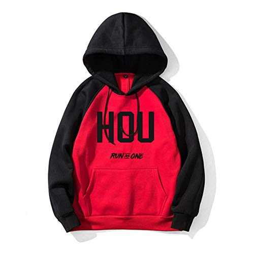 HS-HUWENHUI Basketball League/Houston Rockets Fan Kostüm Freizeitkleidung Taillierter Pullover Für Herren Kapuzenpullover Mit Praktischer Känguru-Tasche Herbst-Winter-Kleidung,M175~180CM (Houston Kostüm)