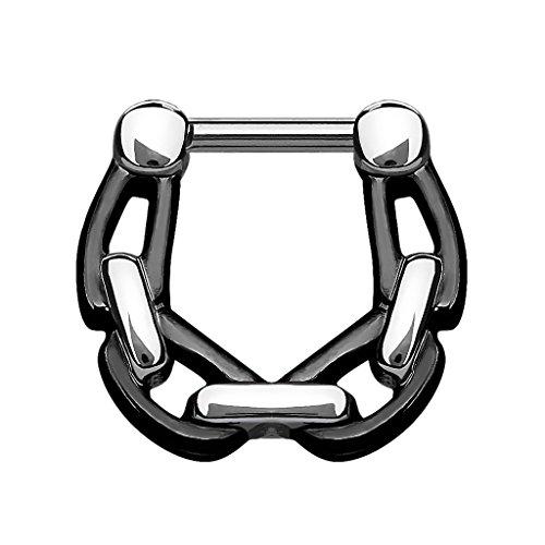 Piercingfaktor Universal Piercing Scharnier Clicker Ring Ketten Style Septum für Tragus Helix Ohr Nase Lippe Brust Intim Nippel Augenbrauen Chirurgenstahl 1,2mm Schwarz