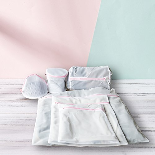 Ansley & HosHo - Bolsa de lavandería de malla para ropa delicada, bolsa de lavadora para viajes, bolsa de lavandería, red para clasificador de ropa, dispensador, bolsas de almacenamiento, organizador para sujetadores Lingerie Intimates, medias, calcetines, ropa interior, pack de 6, Set 3