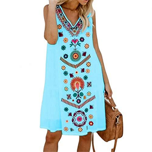 Ann Taylor Kleider (FeiXing158 Sommer Minikleid Ärmellos V-Ausschnitt Weiblich Exotisch Bedruckt Damen Lose Minikleid Boho)
