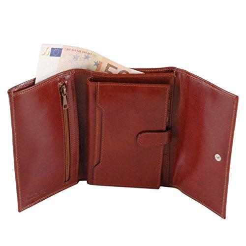 Tuscany Leather - Esclusivo portafogli in pelle da donna 4 ante Rosso Portafogli donna in pelle Marrone