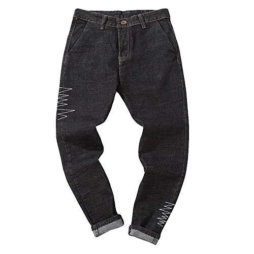 Jeans casual uomo straight fit landfox jeans casual denim pantaloni da uomo da lavoro vintage in cotone denim vintage lavato vintage da uomo jeans uomo larghi alla caviglia retro mens jeans nero2