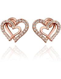 Carina Double Heart Zest 18k Rose Gold Plated Designer Diamond Earring For Women Girls