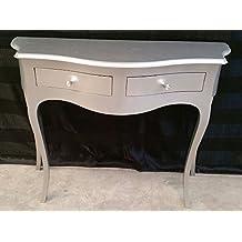Consola mesa entrada de madera con 2cajones color plata moldeada