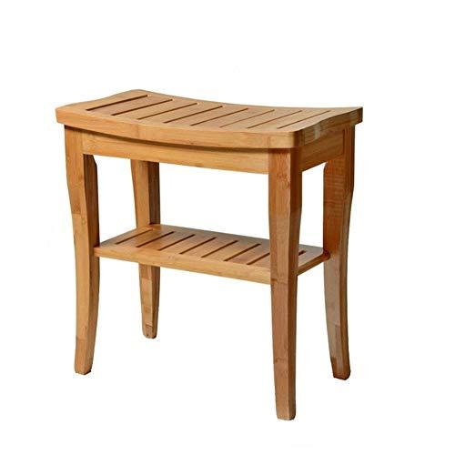 XYBHD Badhocker Bank Bambus-Sitzbank Aus Holz Zwei-stufiger Lagerung Handlauf Duschstuhl for Bad Flur Wohnzimmer -