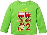 EZYshirt Kinder Feuerwehrauto 2. Geburtstag Jungen T-Shirt Baby Langarm Bio Baumwolle