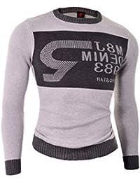 D&R Fashion hombre de la camiseta de la Negro Gris ajuste delgado de cuello redondo de los pernos prisioneros de las lentejuelas mezcla del algodón