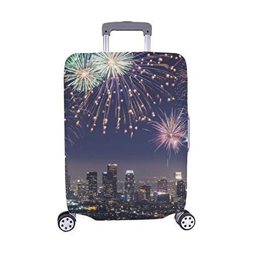 Im Stadtzentrum gelegene Los Angeles-Stadtbild-blinkende Feuerwerke Stockfoto Muster-Spandex-Laufkatzen-Reise-Reisegepäck-Schutz-Koffer-Abdeckung 28,5 x 20,5 Zoll
