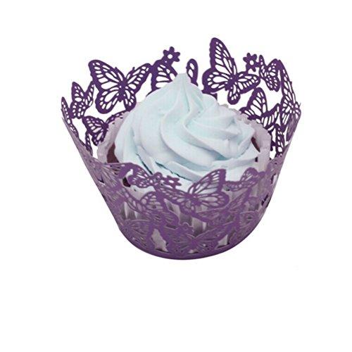 ROSENICE 50pcs Cupcake wrapper, bicchieri di carta torta ragazza per