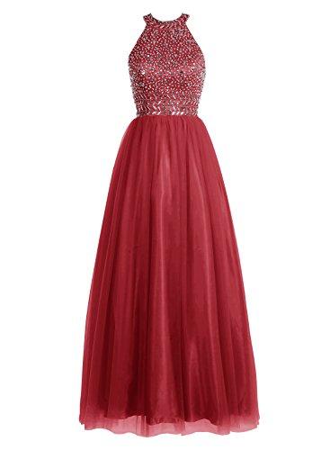 Bbonlinedress Robe de cérémonie Robe de bal emperlée forme empire longueur ras du sol Rouge Foncé