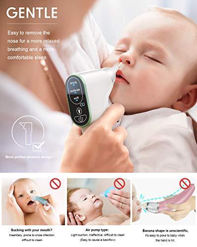 Aspirador Nasal Bebe Electrico,  DynaBliss U8 de Carga USB con 3 Niveles de Succión 4 Tamaños con Puntas Nasales de Regalo,  Frascos y Cepillo Limpio