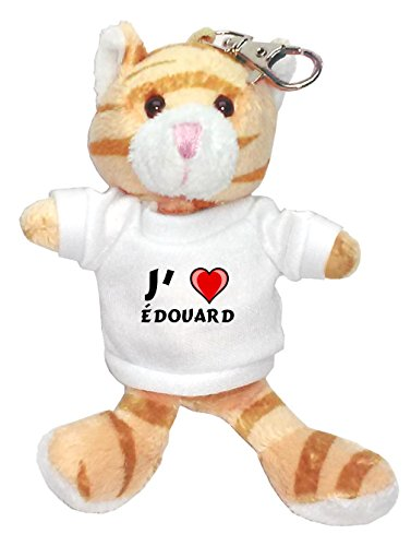 Chat marron peluche porte-clé avec J'aime Édouard (Noms/Prénoms)