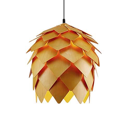 E27 Holz Retro Pendelleuchte, Handgefertigte Tannenzapfen Esszimmer Hängeleuchte, mit tollen Licht-und Schatteneffekten, Höhenverstellbar Innenbeleuchtung Dekorationslicht, 110-240V,ø25cm - Home Tannenzapfen
