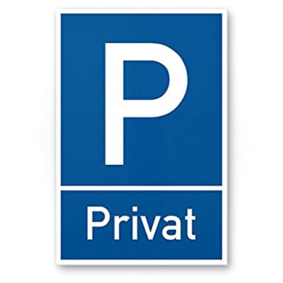 Parkplatz Schild Privat (blau, 20 x 30cm), Hinweisschild Privatparkplatz, Privatgrundstück, Parkplatzschild Reserviert - Parkplatz freihalten, vermietet, Parkverbot für Falschparker