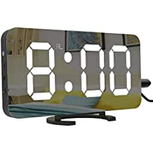 Cynthia 6.5 Pulgadas Grande LED Digital Reloj Despertador con Puerto USB para Cargador de teléfono,
