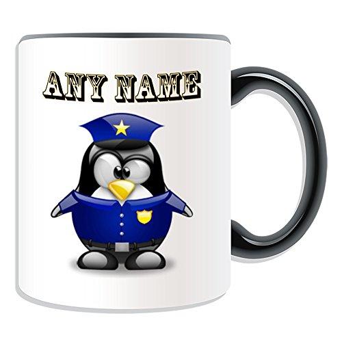 Personalisiertes Geschenk–POLIZEI Tasse (Pinguin in Kostüm Design Thema, Farbe Optionen)–alle Nachricht/Name auf Ihre einzigartige–Polizist Polizistin, keramik, schwarz