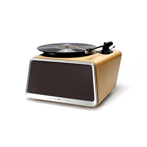 Superior Vinyl-Plattenspieler, HYM Seed All-in-One Plattenspieler Stereo Audio Smart Schallplattenspieler Plattenspieler Integrierte 80Watt HiFi-Lautsprecher Bluetooth Wifi AUX-in USB Eichen-Koffer (Saatgut Musik)