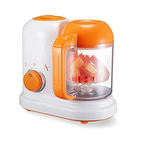 ZUHN Elektrische Babynahrungsmaschine All In One Kleinkind-Mixer Dampfgarer Prozessor Lebensmittelgeprüfte PP Steam Food Safe Mixer,Orange -