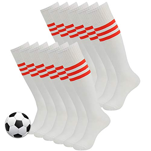 3street Unisex Triple Stripe Kniehohe über Kalb Athletic Fußball Tube Socks 2-12Paar, Damen Herren Mädchen Jungen, 04#12 Pairs White+Red Stripe, Einheitsgröße -