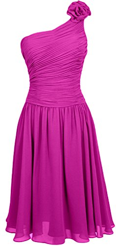 MACloth Women Short Bridesmaid Dress One Shoulder Wedding Cocktail Party Gown Fuchsia
