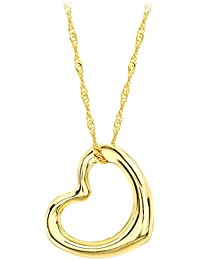Carissima Gold Women's 9 ct Yellow Gold Open Heart Pendant on Twist Curb Chain Necklace of Length 46 cm