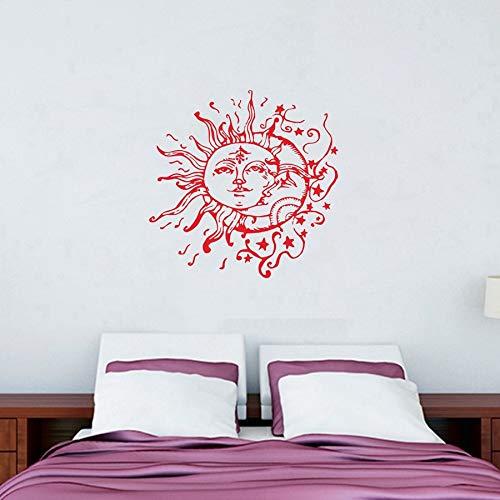 Sonne Mond Sterne Wandtattoos für Schlafzimmer Sonne und Mond Wandtattoo ethnischen Dekor Sun Moon Crescent Decals Bohemian Boho Fashion 40x40cm - Badezimmer Sonne Und Sterne Mond