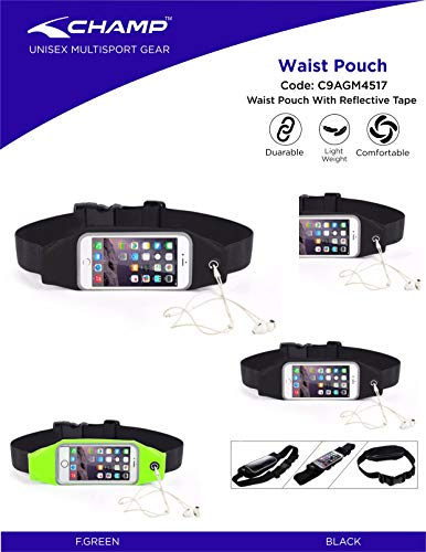 Champ C9AGM4517_BK-FS Nylon Waist Belt Pouch with Reflective Tape for Carrying Mobile Phone and Essentials - FS (Black)