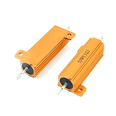50W 0.5 Ohm Axial Wirewound Aluminum Clad Resistor Gold Tone 2 Pcs