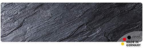 matches21 Küchenläufer Teppichläufer Teppich Läufer schwarzer Schiefer Schieferplatte Schieferoptik 50x180x0,4 cm maschinenwaschbar
