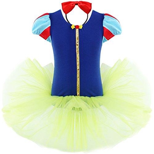 YiZYiF Mädchen Kinder Kostüm Ballettkleid Geburtstag Party Karneval Fasching Cosplay Halloween Kostüm Kleid mit Ohren (92-98, Gelb + Blau)