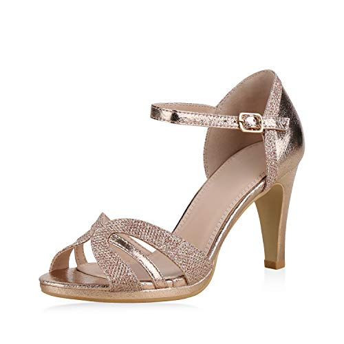 SCARPE VITA Damen Pumps Sandaletten Riemchensandaletten Elegante Schuhe Stiletto High Heels Metallic Glitzer 183239 Rose Gold Glitzer 37 Strappy High Heel-schuhe