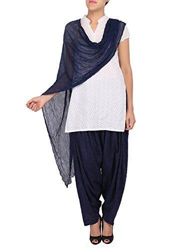 Womens Cottage Women's Navy Blue Pure Cotton Jacquard Semi Patiala Salwar & Chiffon Dupatta Stole Set with Lace