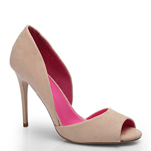 "Ideal ShoesDécolleté aperto in punta ""Jalila"", effetto camoscio Beige (Beige)"