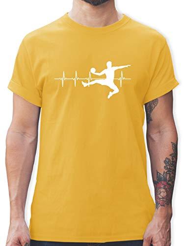 Handball - Handball Herzschlag für Herren - S - Gelb - L190 - Tshirt Herren und Männer T-Shirts