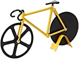 Pawaca Bicycle Pizza Cutter Stainless Steel Blades with Non-stick Coating Serveware with Kickstand Yellow