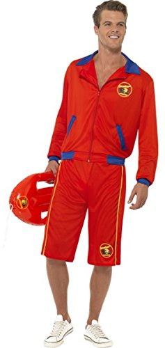 Film & TV Baywatch Strand Lizensiert Kostüm Herren Rettungsschwimmer Komplettes Kostüm - Multi, Large (Herren Baywatch Rettungsschwimmer Kostüm)