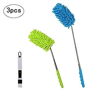 2 lot de Plumeau Télescopique,SEELOK Attrape-Poussière Duster Microfibre avec petite brosse à épousseter pour la maison, la voiture