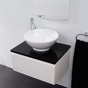 Meuble de rangement pour salle de bain bain Lavabo–Unité de lavabo mural de luxe avec plan de travail Noir brillant–Fermeture douce remplissage profond tiroir–Design Moderne Mur Suspendu Meubles en blanc brillant (Dimensions–Hauteur: 310mm, largeur: 600mm, profondeur: 450mm)